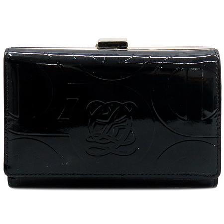 Louis_Quatorze(루이까또즈) OP144F 로고 장식 블랙 페이던트 레더 중지갑
