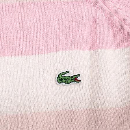 Lacoste(라코스테) 스트라이프 패턴 스퀘어 넥 니트