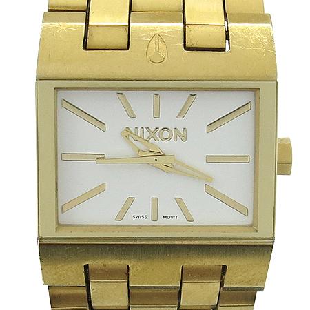 NIXON(닉슨) 금장 스퀘어 베젤 티켓 골드 여성용시계