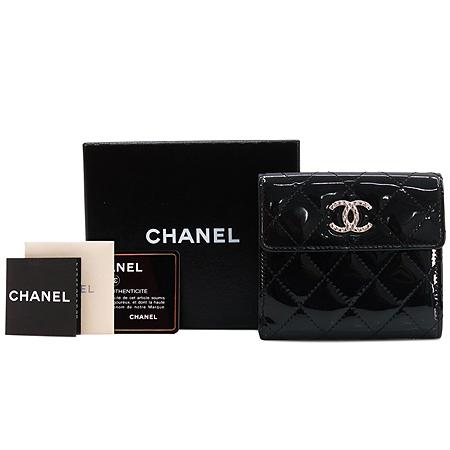Chanel(샤넬) 실버 COCO 메탈 로고 블랙 페이던트 레더 브릴리언트 라인 중지갑