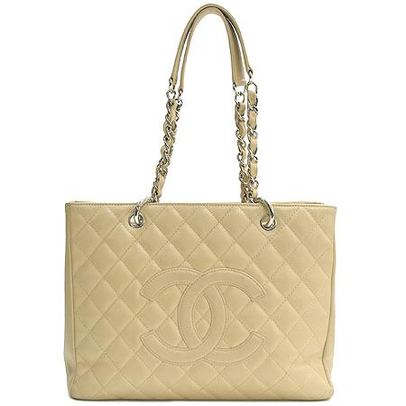 Chanel(샤넬) A20995  베이지 캐비어스킨 그랜드샤핑 은장 체인 숄더백 이미지2 - 고이비토 중고명품