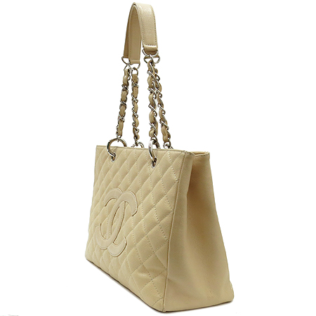 Chanel(샤넬) A20995  베이지 캐비어스킨 그랜드샤핑 은장 체인 숄더백 이미지3 - 고이비토 중고명품