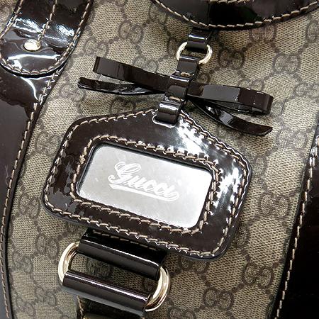 Gucci(구찌) 203517 GG로고 PVC 벨트 리본장식 페이던트 레더 트리밍 토트백