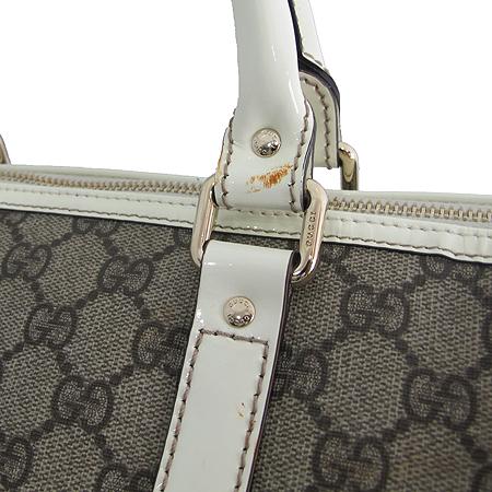 Gucci(구찌) 193603 GG 로고 화이트 레더 트리밍 PVC 보스톤 토트백 [명동매장]