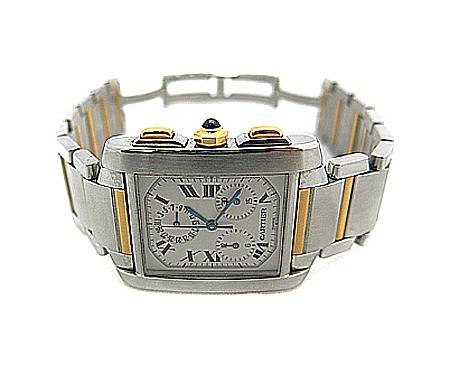 Cartier(까르띠에) W51004Q4 탱크프랑세즈 콤비 크로노플렉스 남성용 시계 [명동매장]