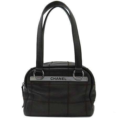 Chanel(샤넬) 은장 로고 장식 캐비어 스킨 마트라쎄 스티치 볼링 토트백