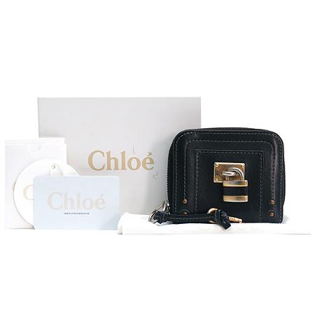 Chloe(끌로에) 8EP050-7E422 블랙 레더 금장 자물쇠 장식 패딩턴 짚업 반지갑