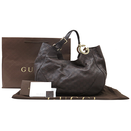 Gucci(구찌) 203504 GG로고 시마 레더 인터로킹 장식 숄더백 [압구정매장]