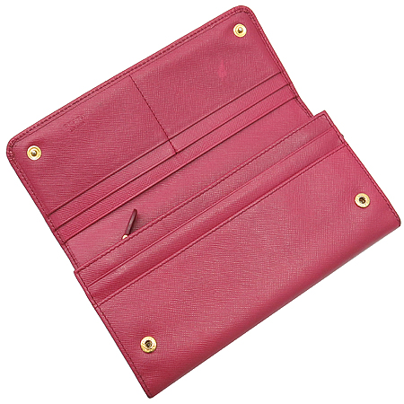 Prada(프라다) 1M1132 금장 로고 장식 사피아노 핑크컬러 장지갑 [강남본점]
