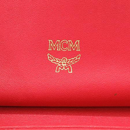 MCM(엠씨엠) 금장 로고 장식 레드 래더 3단 반지갑