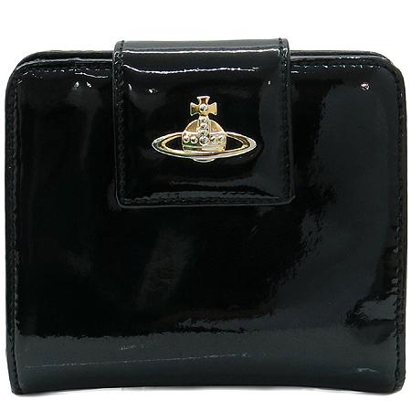 Vivienne_Westwood(비비안웨스트우드) 금장 ORB 로고 블랙 레더 중지갑