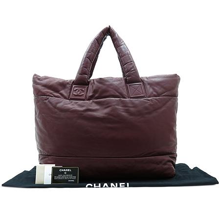 Chanel(샤넬) 블랙 / 와인 양면 램스킨 레더 코쿤 퀼팅 토트백