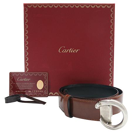 Cartier(까르띠에) 은장 팬더 버클 양면 여성용 벨트