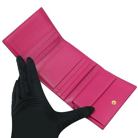 YSL(입생로랑) 328598 핑크 레더 2단 반지갑
