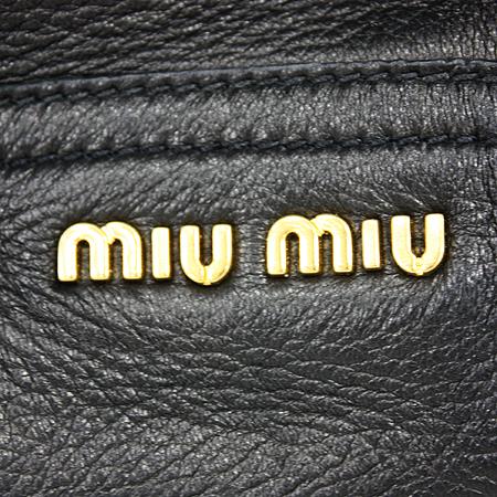 MiuMiu(미우미우) RN0633 CERVO(사슴가죽) NERO 블랙 레더 금장로고 락 장식 2WAY [명동매장]