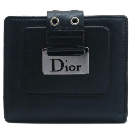 Dior(크리스챤디올) 은장 로고 장식 레더 반지갑