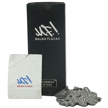 Majoh Flavah (메이저 플레이버) 큐빅 로고 장식 체인 블랙 스틸 목걸이