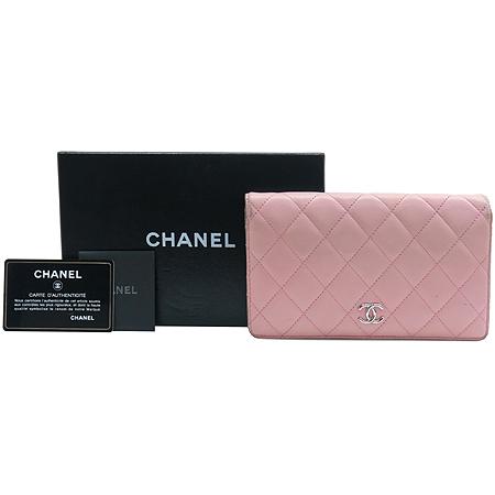 Chanel(샤넬) A31509 램스킨 핑크 퀼팅 은장로고 장지갑