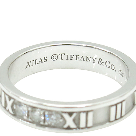 Tiffany(티파니) 18K 화이트 골드 아틀라스 3포인트 다이아 반지-12호 이미지4 - 고이비토 중고명품