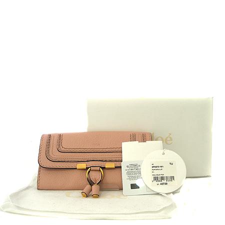 Chloe(끌로에) 3P0573 161 핑크 레더 로고 스탬핑 마르시 장지갑[부천 현대점]