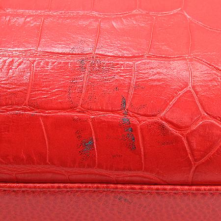 LOVCAT(러브캣) 하트 로고  크러커다일 문양 레더 금장 체인 토트백