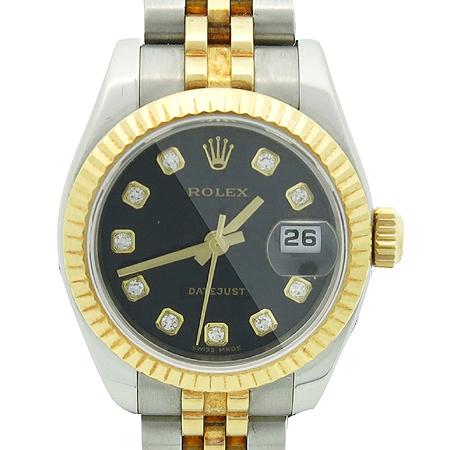 Rolex(로렉스) 179173 10포인트 다이아 블랙판 18K 콤비 DATE JUST(데이트 저스트) 여성용 시계