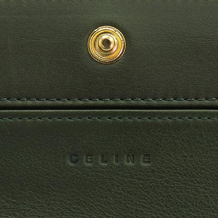 Celine(셀린느) 107243 소프트 카프스킨 다크그린 금장로고 장지갑