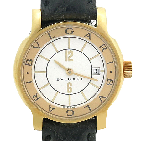 Bvlgari(불가리) 18K 금통 ST29G 솔로템포 가죽밴드 여성용 시계