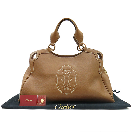 Cartier(까르띠에) L1000825 브라운 마르첼로 L사이즈 로고스티치 토트백 [명동매장]