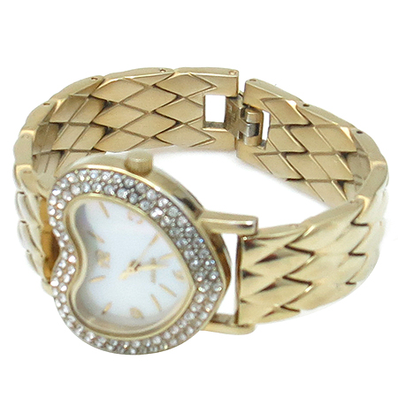 Agatha(아가타) 크리스탈 하트 장식 자개판 다이얼 금장 여성 시계