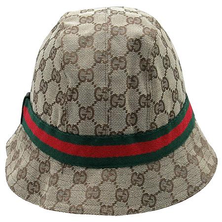 Gucci(구찌) GG 로고 자가드 삼색 스티치 측면 금장 장식 벙거지 모자