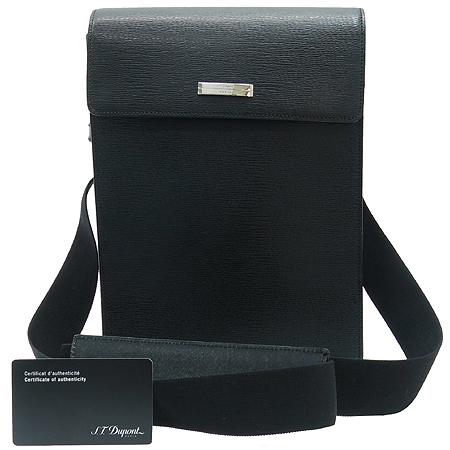 Dupont(듀퐁) 실버 메탈 로고 블랙 레더 메신저 크로스백