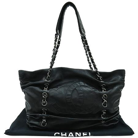 Chanel(샤넬) COCO 로고 럭셔리 바이 블랙 램스킨 레더 실버 메탈 체인 숄더백 [강남본점]