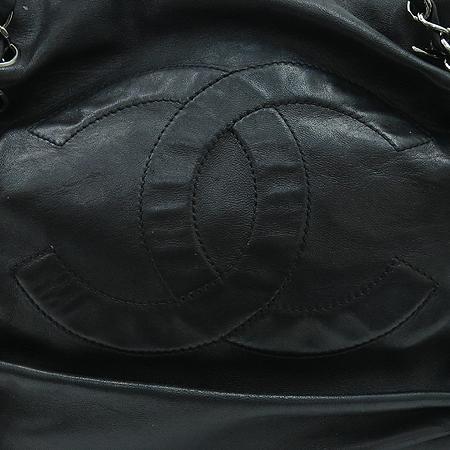 Chanel(샤넬) COCO 로고 럭셔리 바이 블랙 램스킨 레더 실버 메탈 체인 숄더백