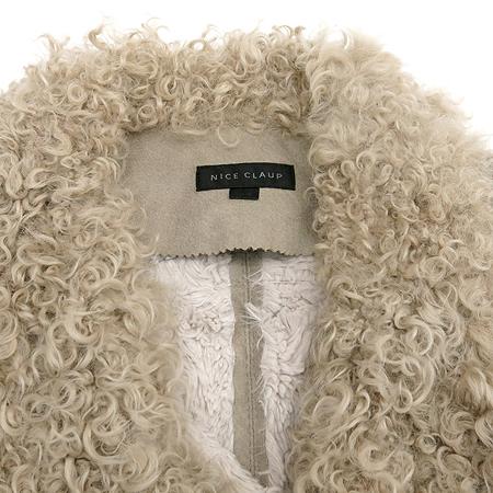 NICE CLAUP(나이스크랍) 그레이컬러 인조무스탕 자켓 (배색:양털100)