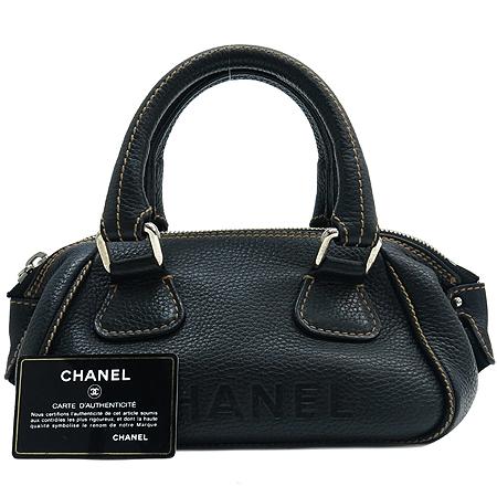 Chanel(샤넬) 블랙 레더 스티치 태슬 장식 토트백