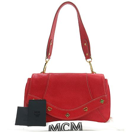 MCM(엠씨엠) 1010091084501 ALDA 금장 로고 장식 레드 레더 플랩 숄더백