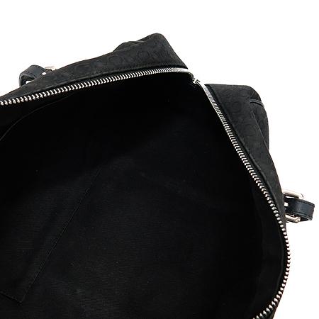 Celine(셀린느) 블라종 로고 장식 블랙 패브릭 레더 원통 토트백