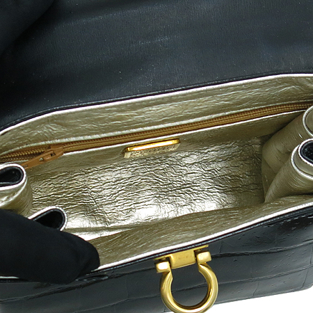 FERRE(페레) 엔틱 블랙 크로커다일 패턴 레더 토트백