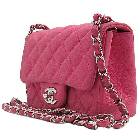 Chanel(샤넬) 은장 로고 장식 이지 캐비어 푸샤 핑크 컬러 미니 은장 체인 크로스백