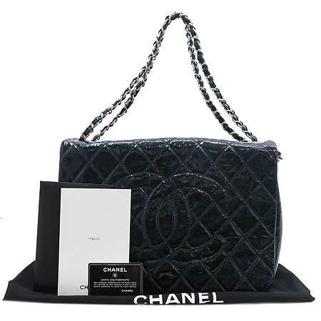 Chanel(샤넬) 블루 링클 페이던트 원플랩 타임리스 은장 체인 빅 숄더백 [명동매장]