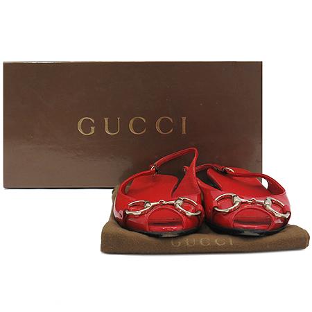 Gucci(구찌) 190892 금장 로고 장식 레드 페이던트 여성용 샌들 [인천점]