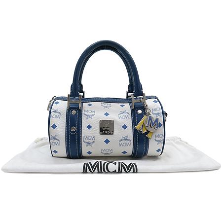 MCM(엠씨엠) 1010072321022 블루 래더 트리밍 비세토스 원통 토트백