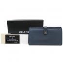Chanel(샤넬) A68625Y07348 빈티지 COCO 로고 버튼 네이비 레더 장지갑 [강남본점]