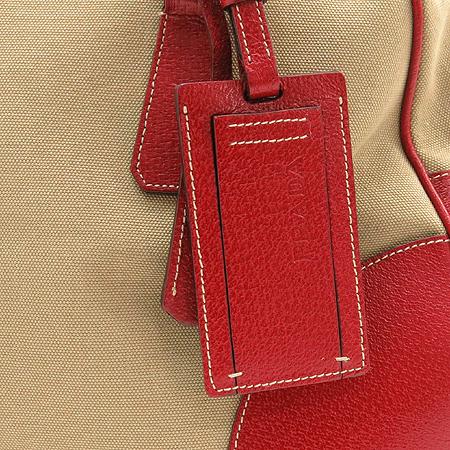 Prada(프라다) 측면 삼각 로고 패드락 장식 레드 레더 혼방 닥터 토트백
