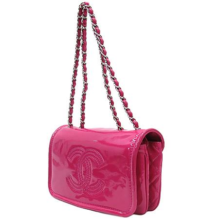 Chanel(샤넬) 핫 핑크 페이던트 CC 로고 스티치 은장 체인 클러치 숄더백 [동대문점]