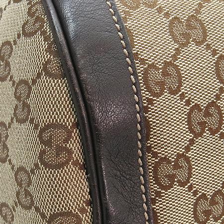 Gucci(구찌) 189825 GG 로고 자가드 브라운 레더 트리밍 원통 토트백
