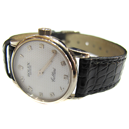 Rolex(로렉스) 6111 18K 화이트 골드 금통 CELLINI(첼리니) 쿼츠 여성용 가죽 밴드 시계 [부천 현대점]
