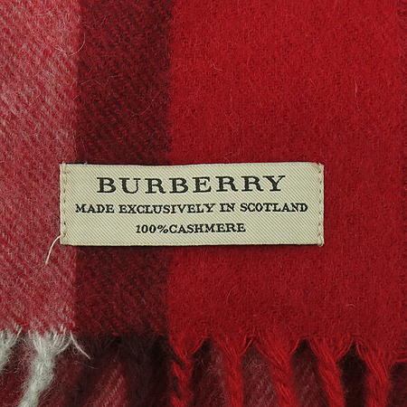 Burberry(버버리) 100% 캐시미어 레드 컬러 체크 머플러