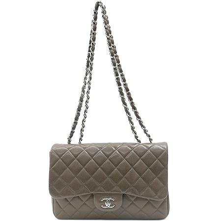 Chanel(샤넬) A28600 캐비어스킨 쵸코브라운 클래식 점보 L사이즈 은장로고 체인 숄더백 [동대문점]